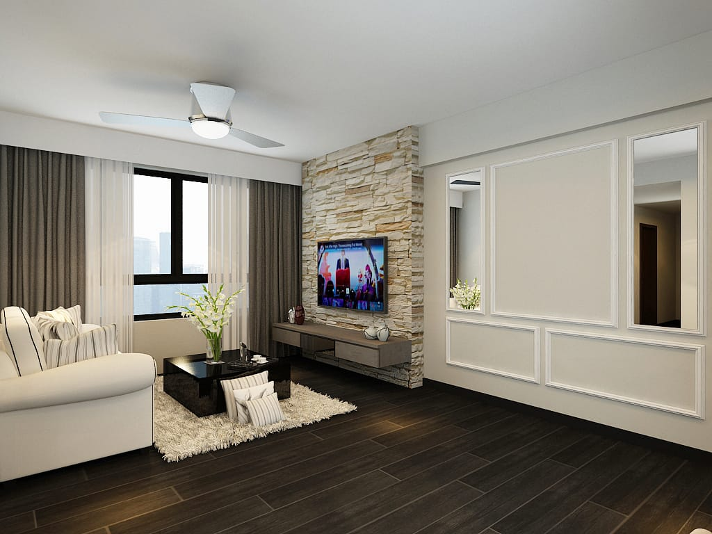 Pingyi living room hdb renovation singapore bto package quote house contractor