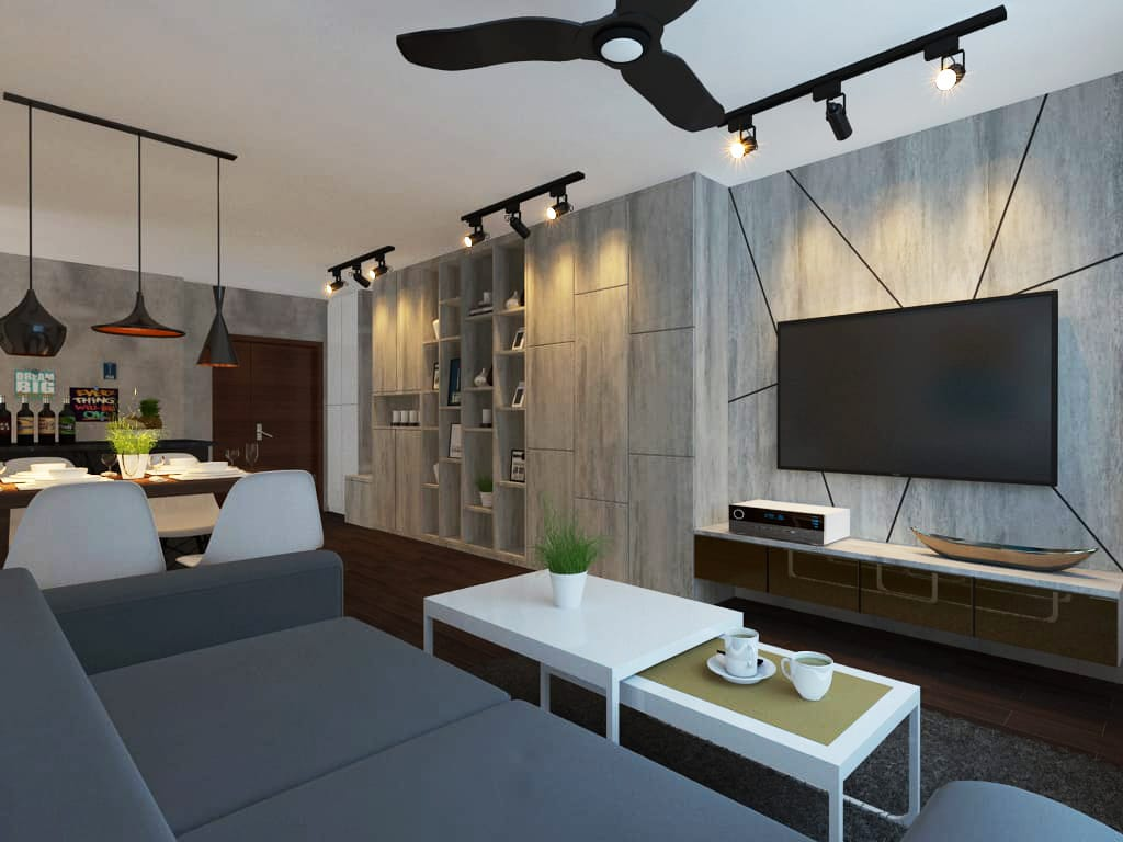 Pingyi greens hdb renovation singapore bto package quote house contractor living room