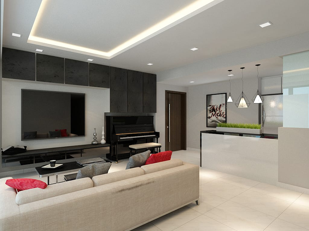 Waterbay condo living room renovation singapore package quote house contractor